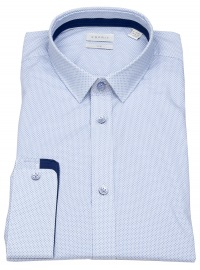 Esprit Hemd - Slim Fit - Kentkragen - Print- hellblau / weiß