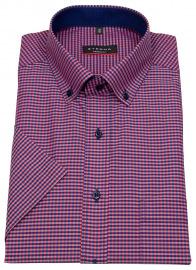 Eterna Kurzarmhemd - Modern Fit - Button Down - dunkelblau / rot
