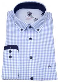 Hatico Hemd - Regular Fit - Button Down - hellblau / weiß