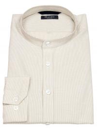 MAERZ Muenchen Hemd - Regular Fit - Stehkragen - hellbraun / weiß