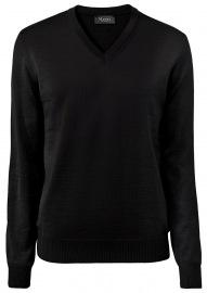 MAERZ Muenchen Pullover - Comfort Fit - V-Ausschnitt - Merinowolle - schwarz