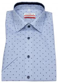 Marvelis Kurzarmhemd - Modern Fit - Kontrastknöpfe - hellblau