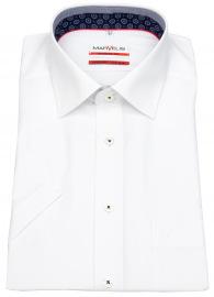 Marvelis Kurzarmhemd - Modern Fit - Patch - Kontrastgarn - weiß