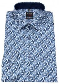 OLYMP Hemd - Level 5 Body Fit - Print - blau / dunkelblau