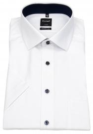 OLYMP Kurzarmhemd - Modern Fit - Faux Uni Struktur - weiß