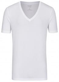 OLYMP Level Five Body Fit - T-Shirt - tiefer V-Ausschnitt - weiß