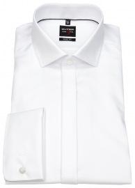 OLYMP Smokinghemd - Level 5 - Struktur - Umschlagmanschette - weiß - ohne OVP