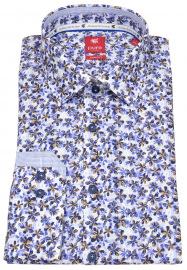 Pure Hemd - Slim Fit - Floraler Print - blau