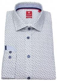 Pure Hemd - Slim Fit - Print - blau / weiß