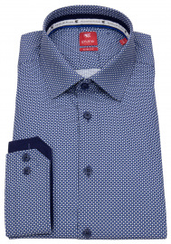 Pure Hemd - Slim Fit - Print - dunkelblau / weiß