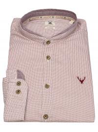 Pure Trachtenhemd - Slim Fit - Stehkragen - rot / weiß