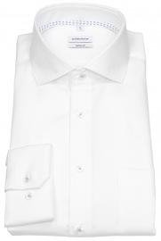 Seidensticker Hemd - Regular Fit - Haifischkragen - Kontrastgarn - weiß