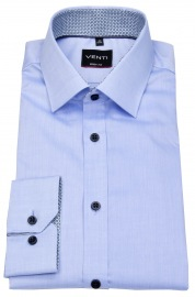 Venti Hemd - Body Fit - Patch - Kontrastknöpfe - hellblau