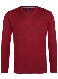 Venti Pullover - Slim - V-Ausschnitt - Merino - pflaume