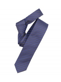 Venti Seidenkrawatte - Slim - dunkelblau / grau gestreift