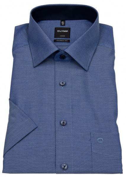 OLYMP Kurzarmhemd - Luxor Modern Fit - Print - blau - 1222 32 11