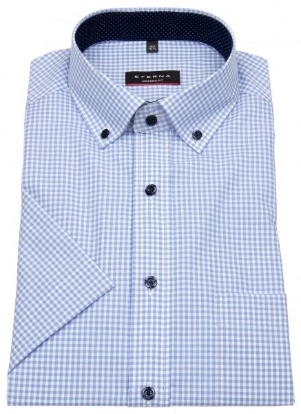 Eterna Kurzarmhemd - Modern Fit - Button Down - hellblau / weiß - 8913 C143 12