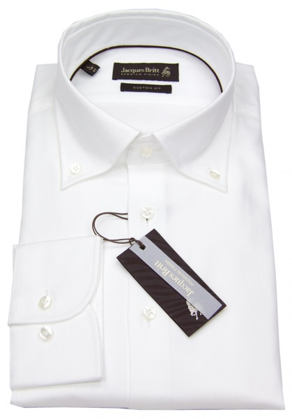 Jacques Britt Hemd - Custom Fit - Button Down - Oxford - weiß - ohne OVP - 20.960320.01