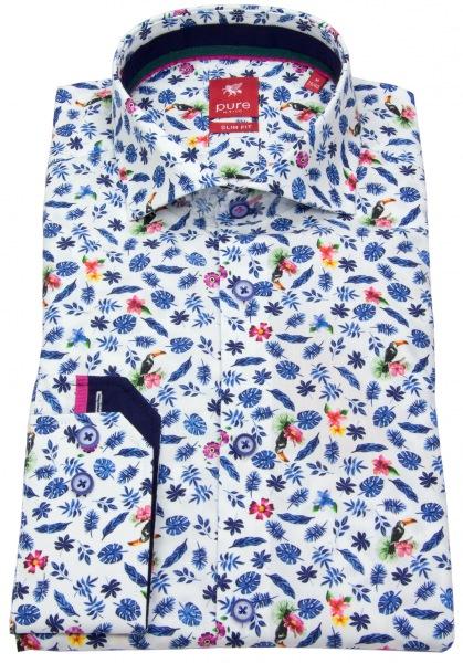 Pure Hemd - Slim Fit - Haikragen - Print - mehrfarbig - 71009-21712 173