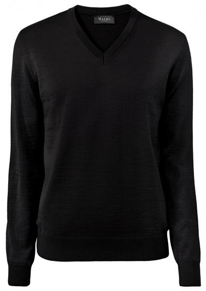 MAERZ Muenchen Pullover - Comfort Fit - V-Ausschnitt - Merinowolle - schwarz - 490400 595
