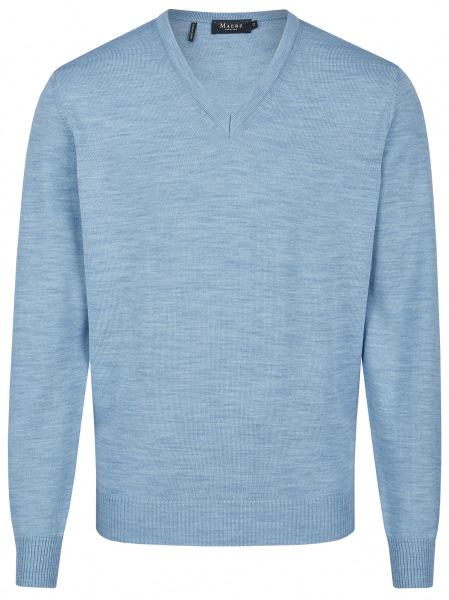 MAERZ Muenchen Pullover - Comfort Fit - V-Ausschnitt - Merinowolle - hellblau - 490400 345