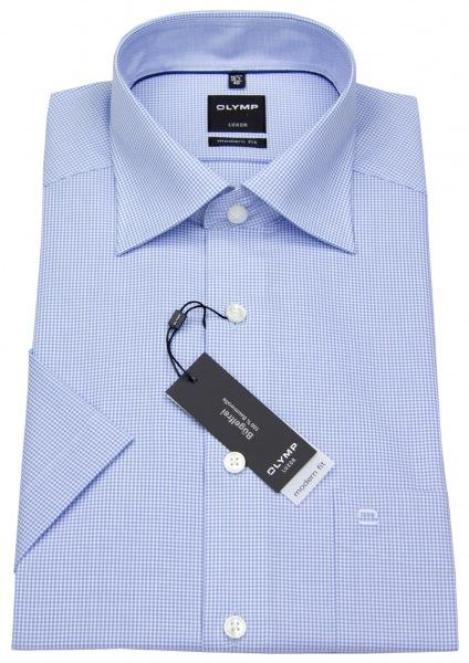 OLYMP Kurzarmhemd - Luxor Modern Fit - Check - hellblau / weiß - 3390 12 11