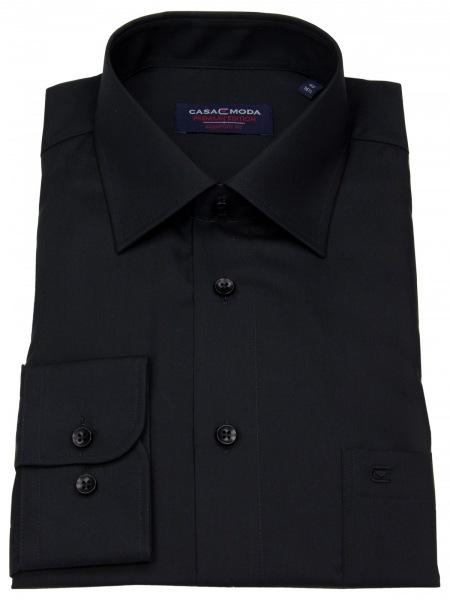 Casa Moda Hemd - Comfort Fit - schwarz - extra langer Arm 72cm - 006052 80