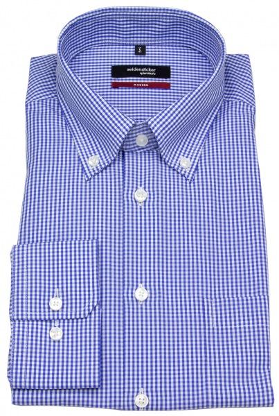 Seidensticker Hemd - Modern Fit - Button-Down Kragen - blau / weiß kariert - 002572 19