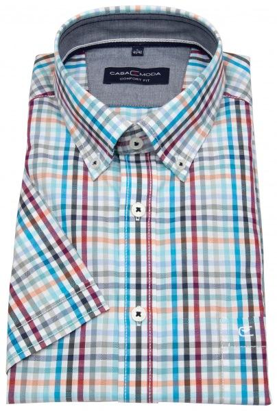 Casa Moda Kurzarmhemd - Comfort Fit - Button Down - mehrfarbig kariert - 993133000 350