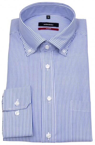 Seidensticker Hemd - Modern Fit - Button-Down Kragen - blaue Streifen - 002572 18