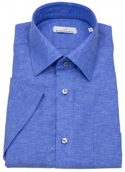 Einhorn Kurzarmhemd - Modern Fit - Leinen - blau - 391745.1581 3