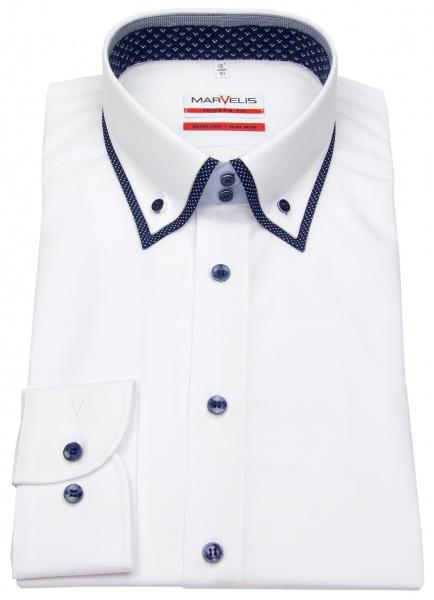 Marvelis Hemd - Modern Fit - unterlegter Button Down Kragen - weiß - 7254 34 00