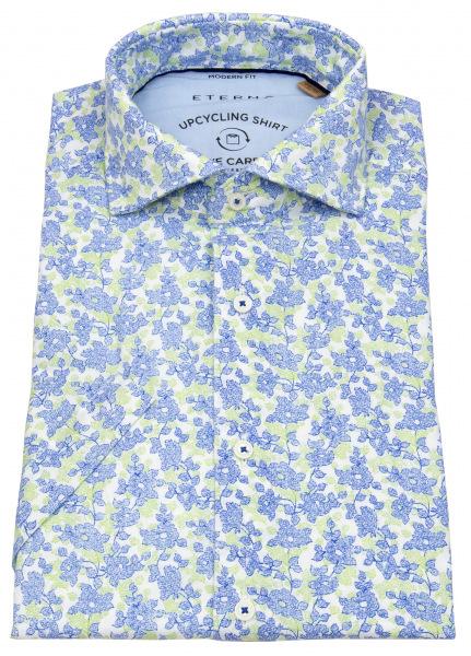 Eterna Kurzarmhemd - Modern Fit - We Care Shirt - hellblau / grün - 3344 WS72 16