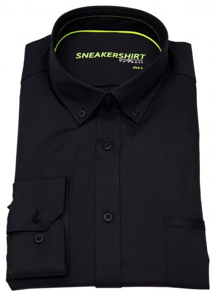 Venti Hemd - Slim Fit - Button Down - Stretch - schwarz - 172824900 800