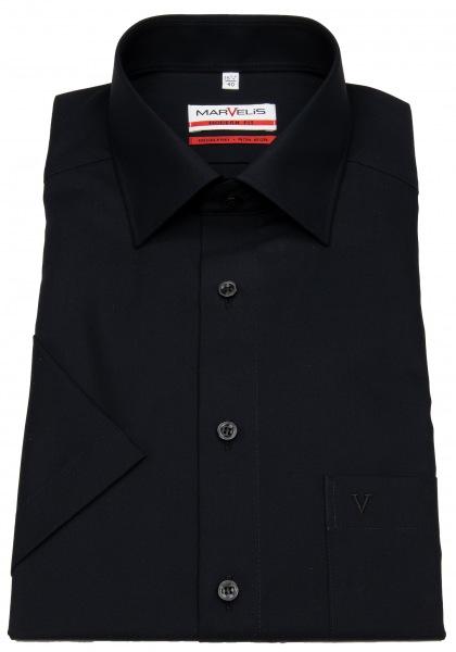 Marvelis Kurzarmhemd - Modern Fit - schwarz - 4700 12 68