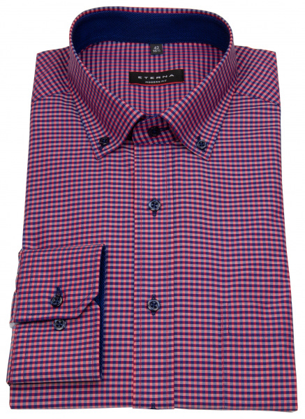 Eterna Hemd - Modern Fit - Button Down - rot / dunkelblau - 8917 X143 58