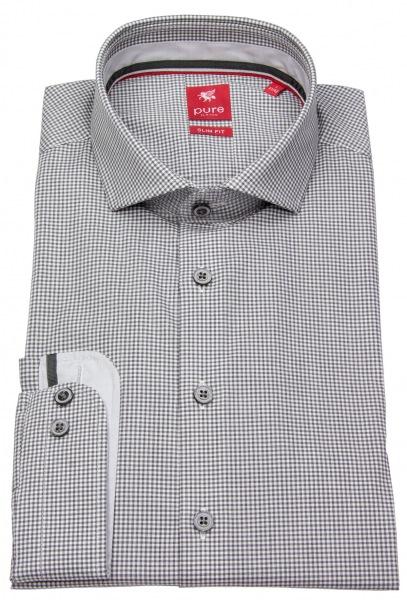 Pure Hemd - Slim Fit - Haifischkragen - grau / weiß - 3594-172 753