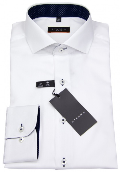 Eterna Hemd - Slim Fit - Oxford - Kontrastnähte - weiß - 8100 F132 00