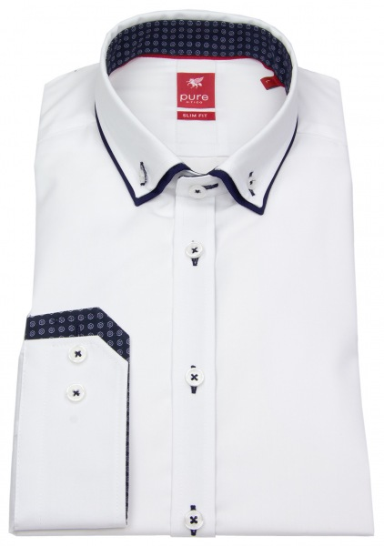 Pure Hemd - Slim Fit - Double Button Down - Patch - weiß - 3569 568 900