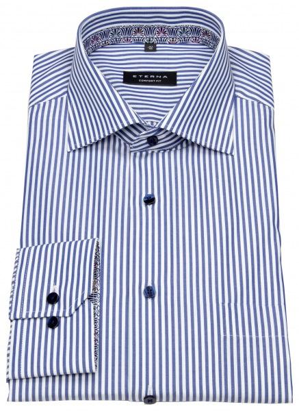 Eterna Hemd - Comfort Fit - Patch - Streifen - blau / weiß - 3206 E95K 17