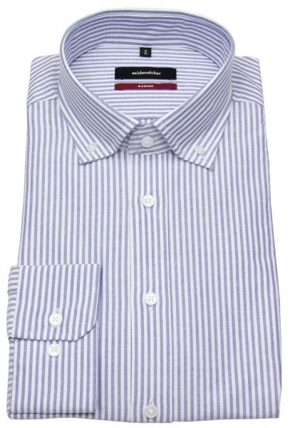 Seidensticker Hemd - Modern Fit - Button Down - Streifen - blau / weiß - 117642 12
