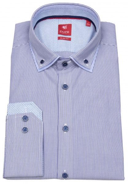 Pure Hemd - Slim Fit - unterlegter Button Down - blau / weiß - 81034-21501 060