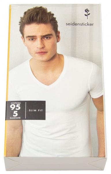Seidensticker T-Shirt - Schwarze Rose - V-Ausschnitt - weiß - 242491 01