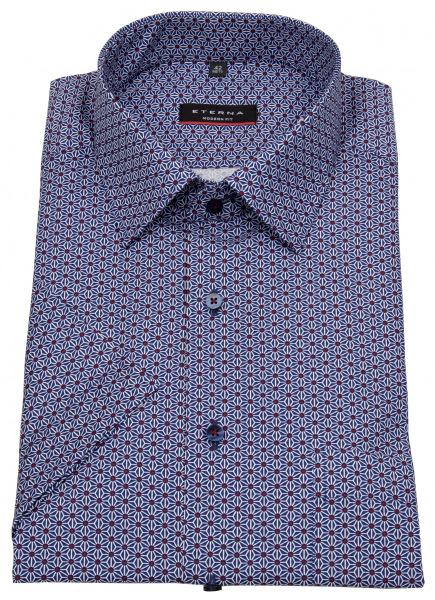 Eterna Kurzarmhemd - Modern Fit - Print - blau / rot - 3871 C19P 18