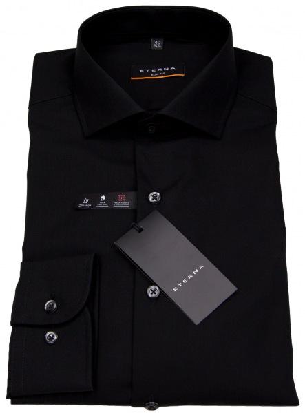 Eterna Hemd - Slim Fit - stark tailliert - schwarz - 1100 F182 39