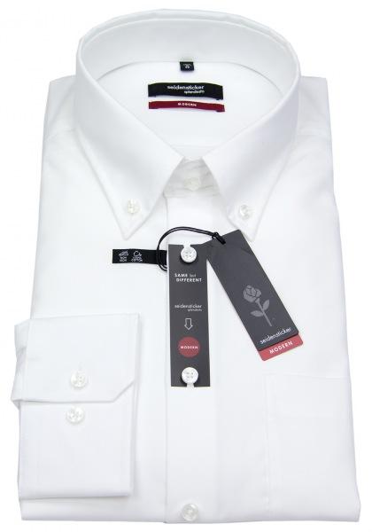 Seidensticker Hemd - Modern Fit - Button-Down Kragen - Fil-a-Fil - weiß - 003002 01