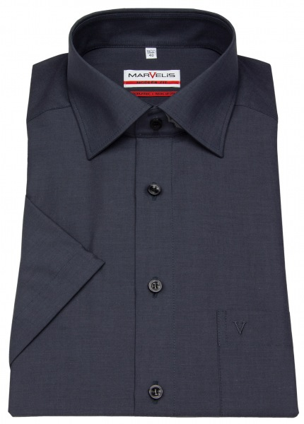 Marvelis Kurzarmhemd - Modern Fit - Chambray - anthrazit - 4704 12 68
