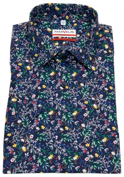 Marvelis Kurzarmhemd - Modern Fit - Floraler Print - mehrfarbig - 7255 72 51