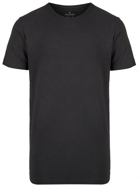 Ragman T-Shirt Doppelpack - Body Fit - Rundhals - schwarz - 48000 009