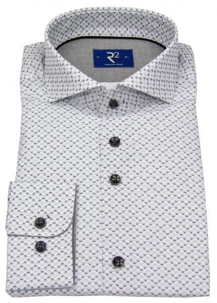 R2-Amsterdam Hemd - Haifischkragen - Print - grau / weiß - ohne OVP - 95.CA.19